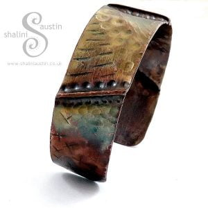 Fold-Formed Copper Cuff 16 - Flame Painted