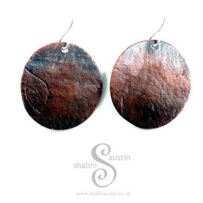 Embossed Copper Earrings HANDMADE PAPER