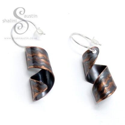 Antique Finish Embossed Copper Twirl Earrings