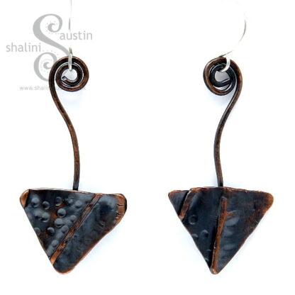 One-Off Textured Copper Arrow Earrings
