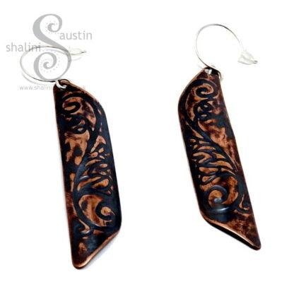 Long Copper Earrings FLORAL