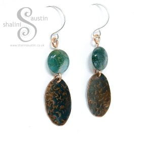 Copper Earrings with Indian Agate Beads