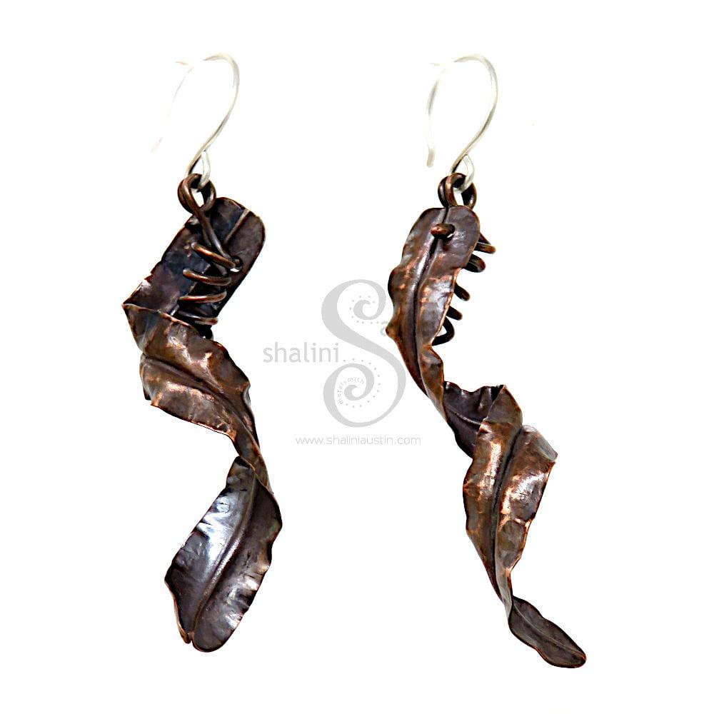 Fold Formed Long Copper Earrings   Handmade to Order
