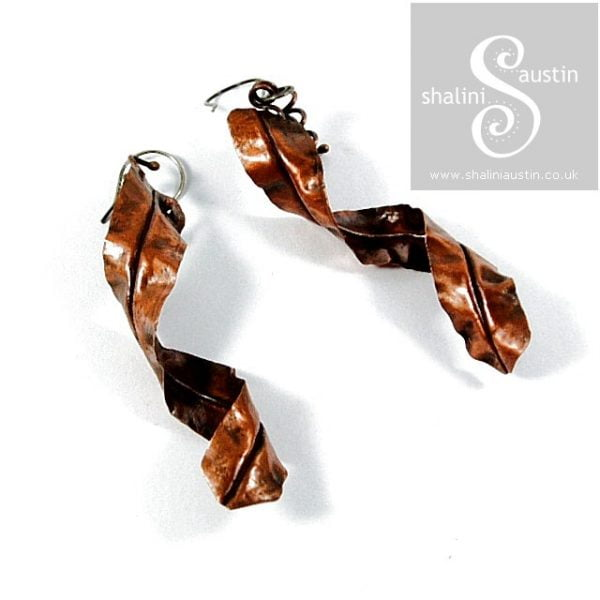 Handmade to Order – Rustic Fold Formed Copper Earrings
