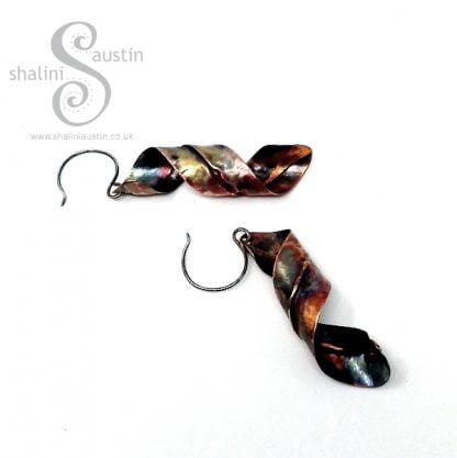 Flame Painted Fold-Formed Copper Earrings