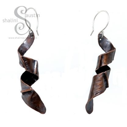 One-off Mismatched Copper Twirl Earrings