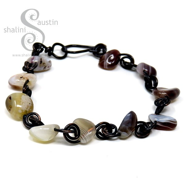 Botswana Agate Nugget Beads Bracelet with Copper Wire