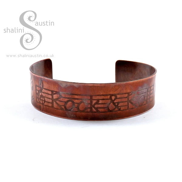 Embossed Copper Cuff ROCK AND ROLL