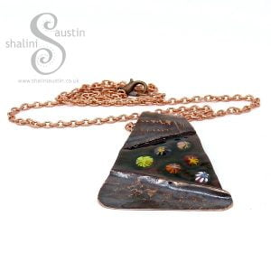 Fold Formed Enamelled Copper Pendant MEADOW