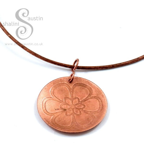 Embossed Copper Pendant BLOSSOM
