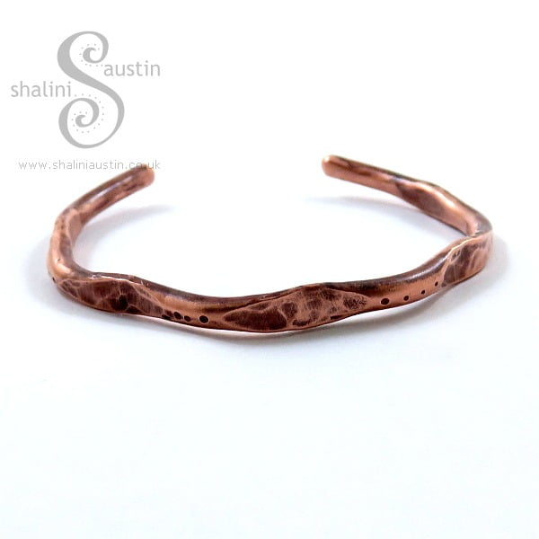 Hammered Unisex Copper Bangle Bracelete