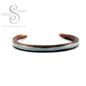 Rustic Copper Bracelet with Aluminium Inlay