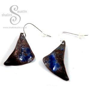 One-Off Enamelled Copper Earrings: Blue