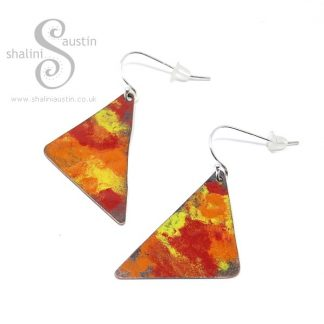 Enamelled Copper Earrings MARIGOLD