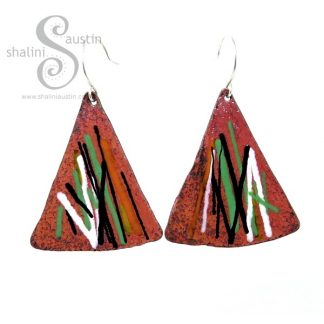 Enamelled Copper Triangle Earrings MULTICOLOUR