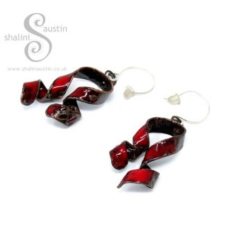 'Ribbons' Enamelled Copper Earrings