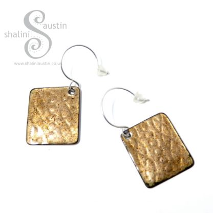 One-Off Embossed Enamelled Copper Earrings