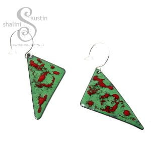 Enamelled Copper Earrings: Red & Green