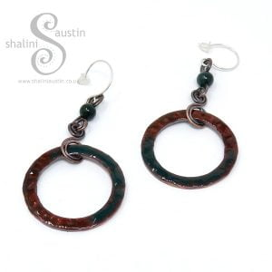 Enamelled Copper Circle & Agate Earrings