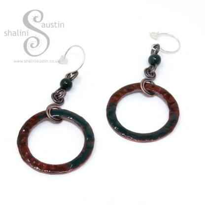 Enamelled Copper Circle & Agate Earrings