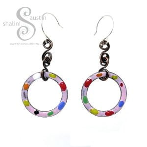 Enamelled Copper Circle Earrings Pink TUTTI FRUTTI