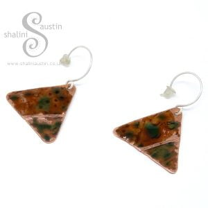 Copper Triangle Earrings in Green-Gold