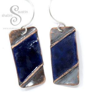Enamelled Fold Formed Copper Earrings – Blue