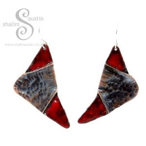 Fold-Formed Copper Earrings with Red Enamel