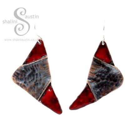 Fold-Formed Copper Earrings with Red Enamel