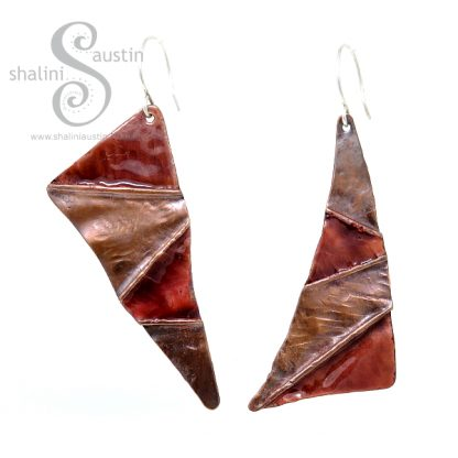 Enamelled Mismatched Copper Earrings – Caramel