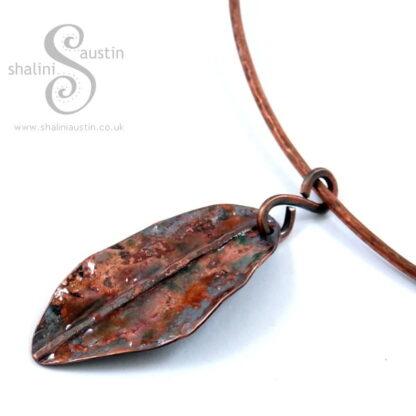 'Colours of Autumn' Enamelled Copper Leaf Pendant