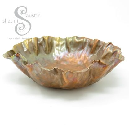 Hand Forged Flame Painted Copper Bowl RUFFLES 1