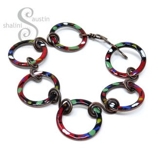 Enamelled Copper Bracelet TUTTI FRUTTI – Red & Black