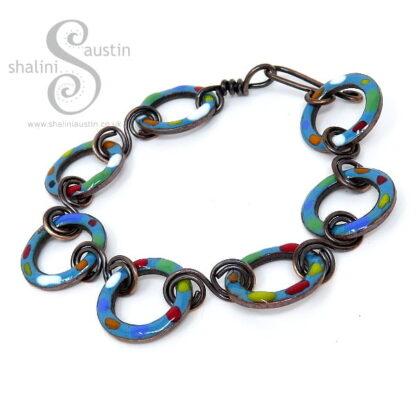 Sold: Enamelled Copper Bracelet TUTTI FRUTTI – Teal