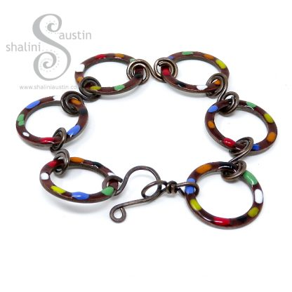 Chestnut Brown Enamelled Copper Bracelet TUTTI FRUTTI