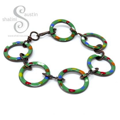 Enamelled Copper Bracelet TUTTI FRUTTI – Grass Green