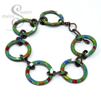 Enamelled Copper Bracelet TUTTI FRUTTI – Grass Green