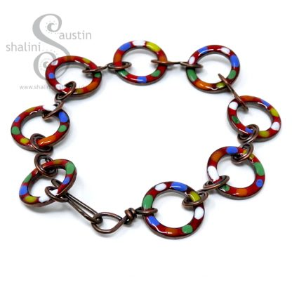 Enamelled Copper Bracelet TUTTI FRUTTI – Red