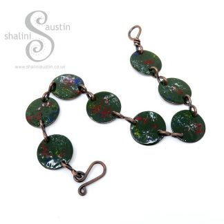Enamelled Copper Disc Bracelet - Forest Green