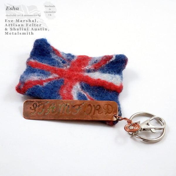 UK Flag Keyring with STAMFORD Tag