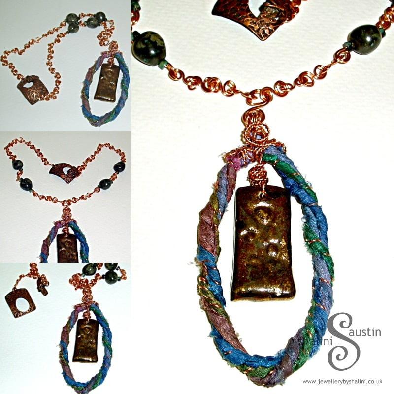One-Off Ceramic Pendant with Sari Silk
