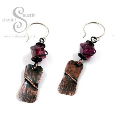 Sold: Fluorite & Copper Earrings