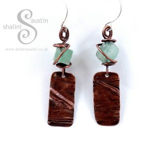 Textured Copper Earrings with Fluorite