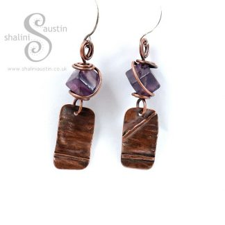 Textured Copper Earrings with Fluorite Beads