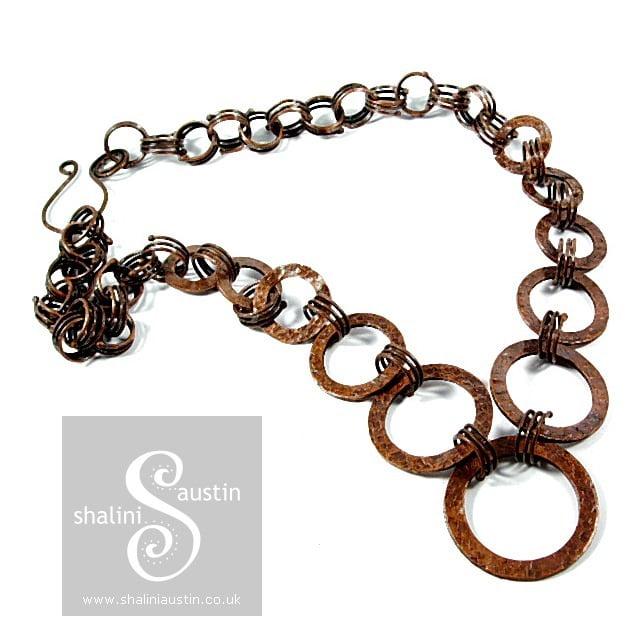 Antique Finish Copper Circles Necklace 03