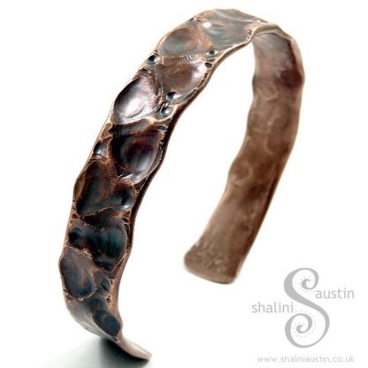 SOLD: 'Fancy' Air-Chased Copper Pipe Cuff 04