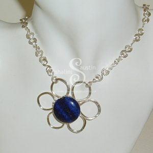 Lapis Lazuli Wire Flower Pendant