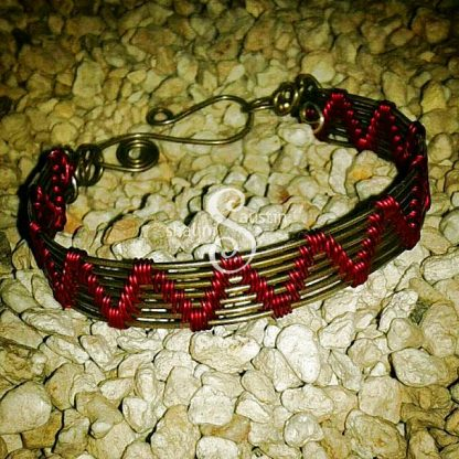 Wire Weave Bracelet 'Sheila' - Hot Pink