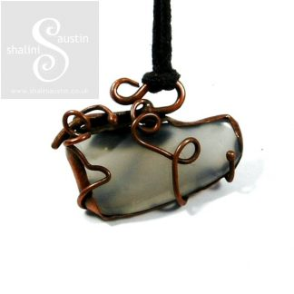 Grey Agate Pendant with Copper