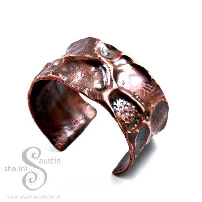 Antique Finish Wide Copper Pipe Cuff FANTASY 2